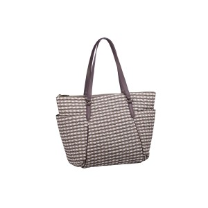 neu_Check Wave Carryall - White_Brown_Light Brown
