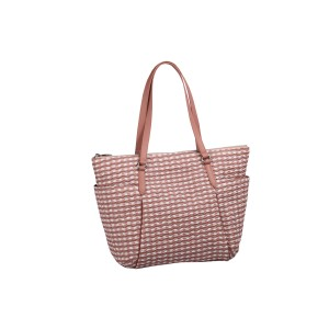 neu_Check Wave Carryall - White_Dark Brown_Pink