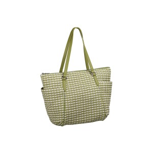 neu_Check Wave Carryall - White_Olive_Light Olive