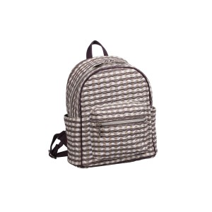 neu_Check Wave Mini Backpack - White_Brown_Light Brown