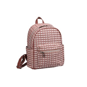 neu_Check Wave Mini Backpack - White_Dark Brown_Pink