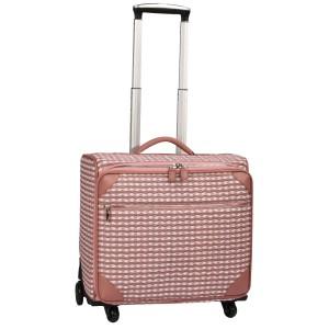 neu_Check Wave Roller Luggage - White_Dark Brown_Pink