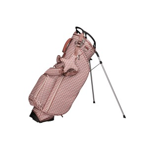 neu_Check Wave Stand Bag - White-Dark Brown-Pink