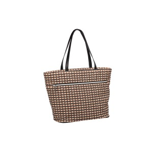 neu_Check Wave Tote - Khaki-Black-Brown