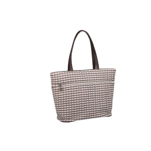 neu_Check Wave Tote - White-Brown-Light Brown