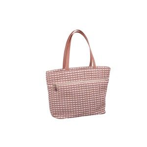 neu_Check Wave Tote - White-Dark Brown-Pink