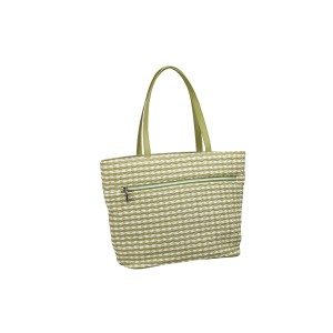 neu_Check Wave Tote - White-Olive-Light Olive