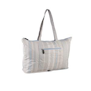 neu_Foldable Shopping Bag - Warm Gray-White-Light Blue